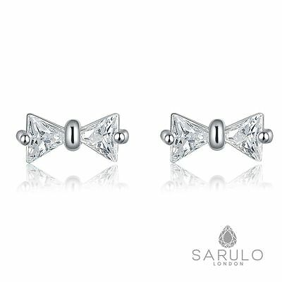 Bowtie Stud Earrings Sarulo 925 Sterling Silver New Bow Fashion Jewelry Gift Bow