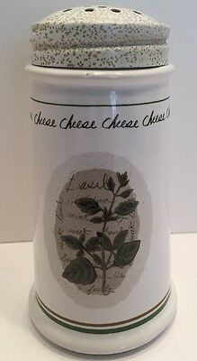 "Himark Savory Thyme Cheese Shaker White Green Trim 6"" Tall Basil Front"