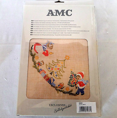 """Christmas Tablecloth Embroidery Kit 35"""" x 35"""" Germany AMC Exclusives Needlework"""