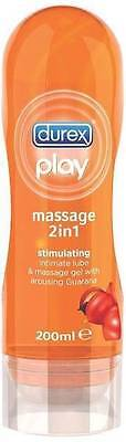 ** DUREX PLAY STIMULATING MASSAGE 2 IN 1 INTIMATE LUBE WITH GUARANA  200ml NEW
