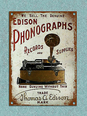 Metal Sign Shabby chic vintage retro style Edison Phonographs wall door plaque