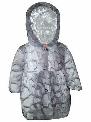 Baby Girls Faux Fur Hooded Fully Lined Warm Jacket Winter Outwear Coat Age 1-4Yr