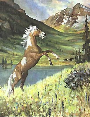 WILD MUSTANG PINTO PAINT HORSE  VINTAGE Art Print by Wesley Dennis
