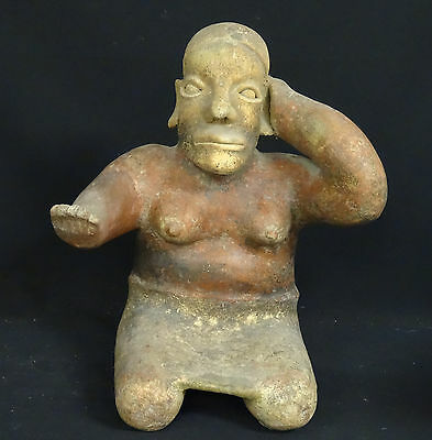 "Superb Pre-Columbian  Jalisco Ameca Style Seated Female Effigy Figure ~ 13"" H"