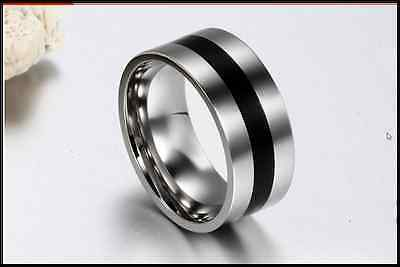 Hot Men's Titanium  Steel Band Finger Ring Silver Party/Engagement Size 8/10/11