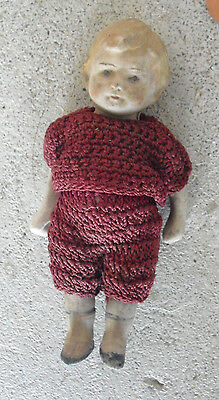 """Vintage 1920s Nippon Jointed Bisque Baby Boy Doll 4"""" Tall"""