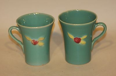 Pair RARE Coors Rosebud USA Art Pottery Green 8-1/2 Ounce Handled Tumblers Cups