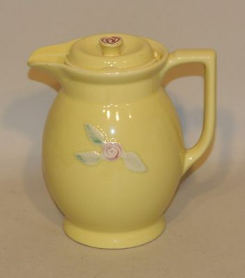 Coors Rosebud USA Art Pottery Yellow 3 Pint Large Covered Batter Pitcher w/ Lid