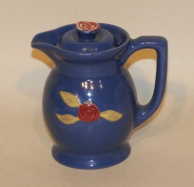 Coors Rosebud USA Art Pottery Blue 14 Ounce Small Covered Syrup or Cream Pitcher