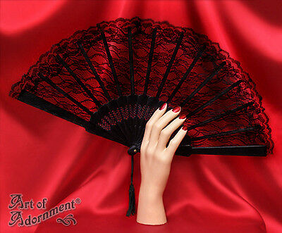 Gothic Burlesque ALL BLACK LACE FOLDING HAND FAN Victorian Costume Halloween F03
