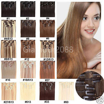 """15""""-28"""" 7PCS THICK DELUXE CLIP IN REMY HUMAN HAIR EXTENSIONS Brown Blonde Black"""