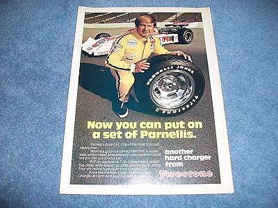 "1974 Parnelli Jones Firestone Tires Vintage Ad ""Now You Can Put On a Set..."""