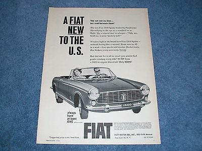 "1964 Fiat Spider 1500 Vintage Ad ""A Fiat New to the U.S."""