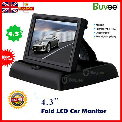 "Fold 4.3"" TFT LCD Color Car Reverse Rear View Monitor For Backup Camera DVD UK"