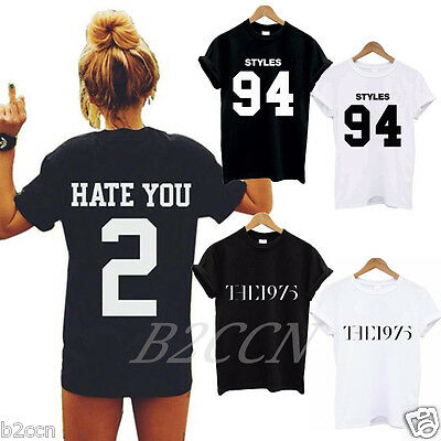 New Women Letter Printed Blouse Oversize Short Sleeve Casual Cotton T shirt Tops