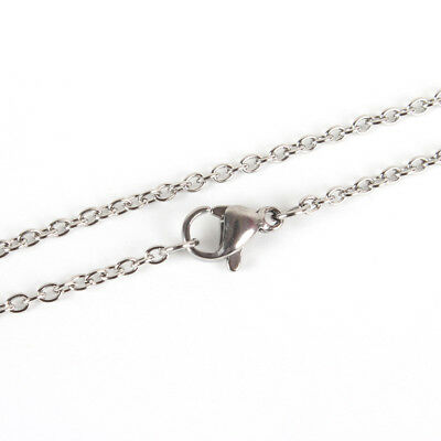 10pcs 304 Stainless Steel Cross Cable Chain Necklace Makings with Clasp Platinum