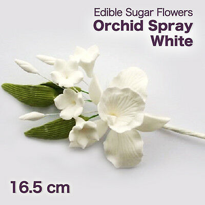 Edible Sugar Flowers  Orchid Spray White 16.5 cm Cupcake Toppers Cake Boxes