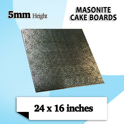 "Masonite Cake Board Black 24 x 16 "" Rectangle - 5MM Thickness Brand New 1/Pack"