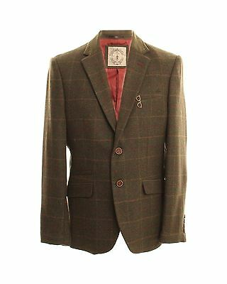Mens Smart Classic Fit Sports Jacket with Suede Patches in Tan,Size 38R-62R
