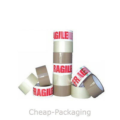 PARCEL TAPE STRONG PACKING TAPE 48mm x 66M Rolls OF BROWN - CLEAR - FRAGILE