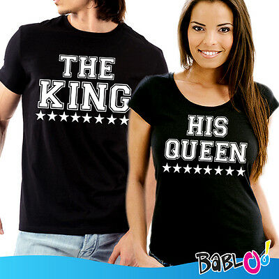 """Coppia Di T Shirt Magliette love You And Me """"The King His Queen"""""""