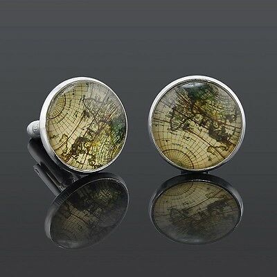 World Map Atlas Earth Gold or Silver Cufflinks Cuff Links in gift bag