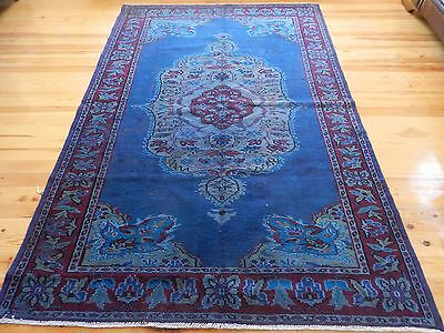 "Turquoise Blue Overdyed Rug 5'6"" x 8'3"" Vintage Turkish Carpet Over-dyed"