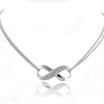 1/4 Carat Natural Diamond Infinity Necklace In Sterling Silver - 18""