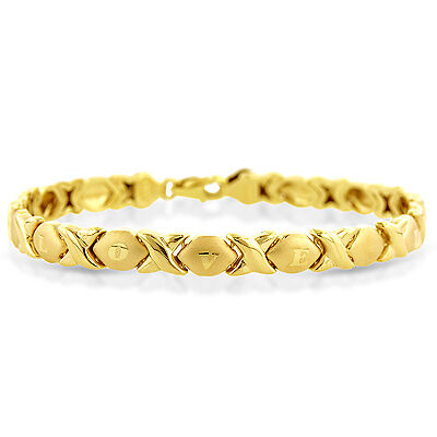 "X & O ""I Love You"" Bracelet in 10K Yellow Gold - 7.25"""