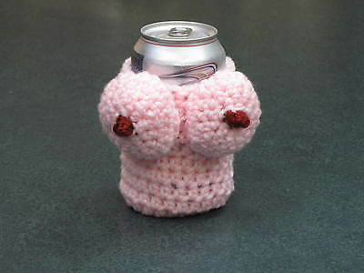 can coozie koozie boobs boobie holder coozy handmade crochet pink father's day