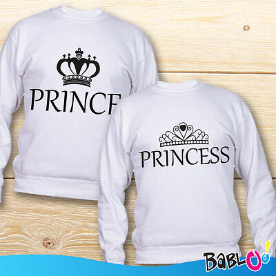 "Coppia di Felpe Love You and Me Idea Regalo San Valentino ""Prince Princess"""