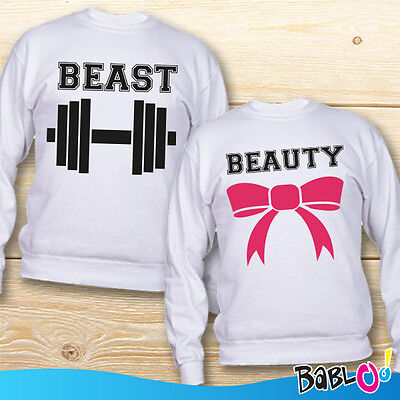 "Coppia di Felpe Love You and Me Idea Regalo San Valentino ""Beauty And The Beast"""
