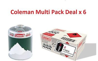 Coleman Multi Pack C500 Screw On Gas Cartridge Butane /Propane - x 6 Cartridge