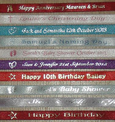 1M Of Personalised Ribbon Any Wording Of Your Choice 10Mm Width L@@k!!!!
