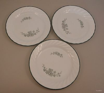 """Lot of 3 Corelle 7"""" Salad Bread Dessert Plates Callaway Ivy Green White Excel"""