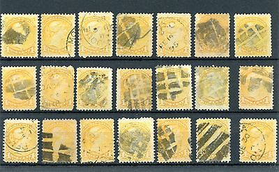 SMALL QUEEN 1 cent x 21 lot various cancels shade Canada used