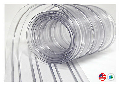 "150' Roll - 8"" Wide Ribbed PVC Plastic Strip Curtain Walk In Coolers Clean Rooms"