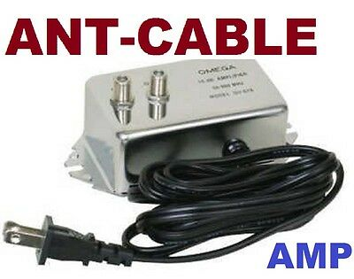 Antenna Inline Amplifier Signal Booster Aerial Amp Hdtv Over The Air Cable