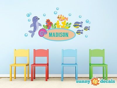 Under the Sea Custom Name Fabric Wall Decals with Seal, Fish, and Bubbles