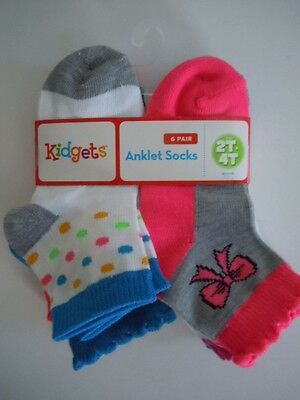 Great Deal ! 6 Pairs Super Cute Anklet Socks Size 2T- 4T For Girls, Boys Kidgets