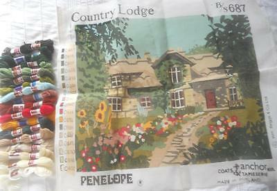 Vintage Penelope Tapestry Canvas Kit Country Lodge Incl Yarn Sml Amt Worked