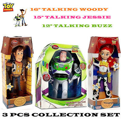 3Pcs Toy Story Woody Jessie Buzz Talking Doll Action Figure Figurines Set Kid
