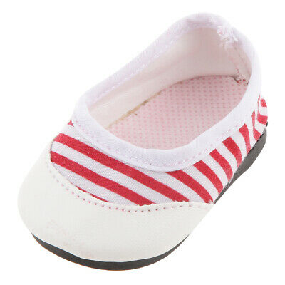 """Red Stripe Casual Shoes Clothes Accessory for 18"""" American Girl Journey Doll"""