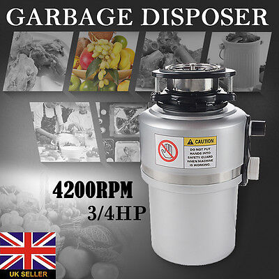 3/4HP 4200RPM Waste Food Garbage Disposer Kitchen Disposal Tool +Air Switch