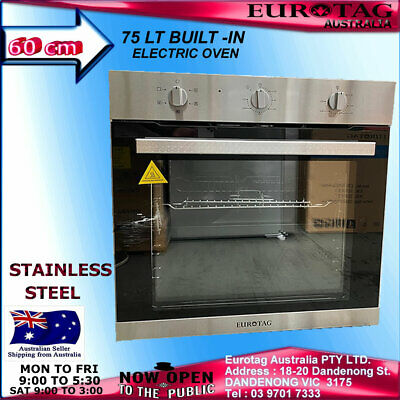 EUROTAG 60cm/600mm Electric Wall 5 Function Oven-Fan-Forced Grill S/S RRP$649.00