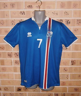 New Shop Quality Large Mens ICELANDIC Soccer Jersey #7 GUDMUNDSSON FYRIR ISLAND