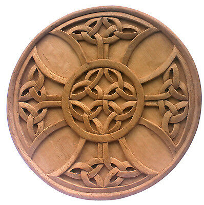 Fine Round Carved Architectural Ornamentation Celtic Knot Medallion Unfinished