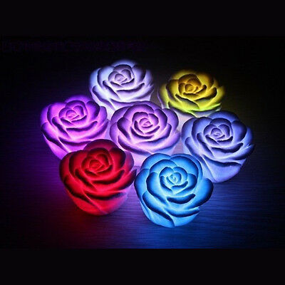 CF615 New 7Color Romantic Changing LED Floating Rose Flower Candle Night Light
