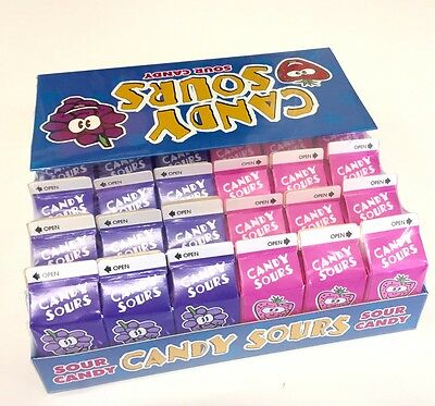 FULL CASE OF 36 x 15g  MINI BOXES OF CANDY SOURS - 18 x GRAPE & 18 x STRAWBERRY