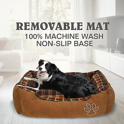 Soft PET Bed Mattress Comfy Dog Cat Pad Mat Cushion Large Brown Washable